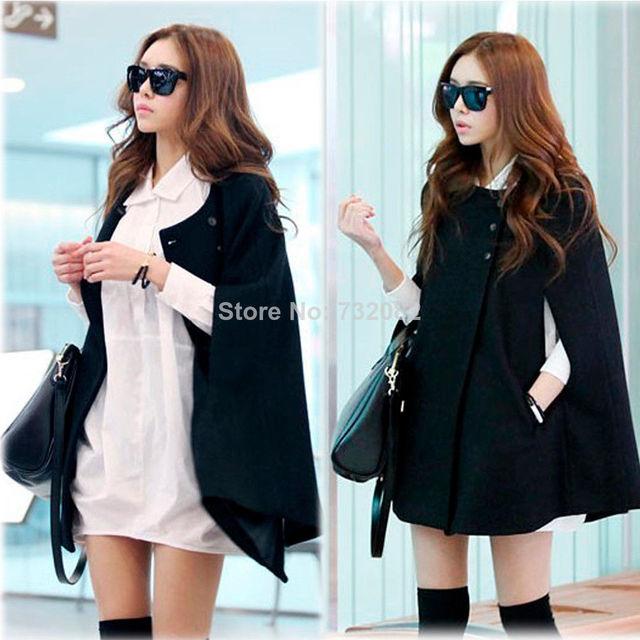 0fa54e741cc Hot Sale Black Solid Womens Ladies Batwing Wool Poncho Winter Coat Jacket  Warm Loose Cloak Cape Parka Nylon Free Shipping E5243