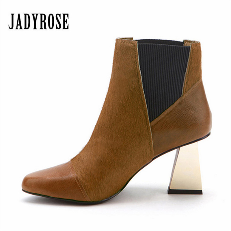 Jady Rose Horsehair Women Ankle Boots Chunky High Heel Shoes Woman Autumn Winter Slip On Boot Women Pumps Valentine Shoe цены онлайн