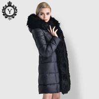 COUTUDI Long Winter Women's Jacket Warm Clothing Elegant Original Fur Lined Parka Women Luxury Female Casual Cotton Padded Coats
