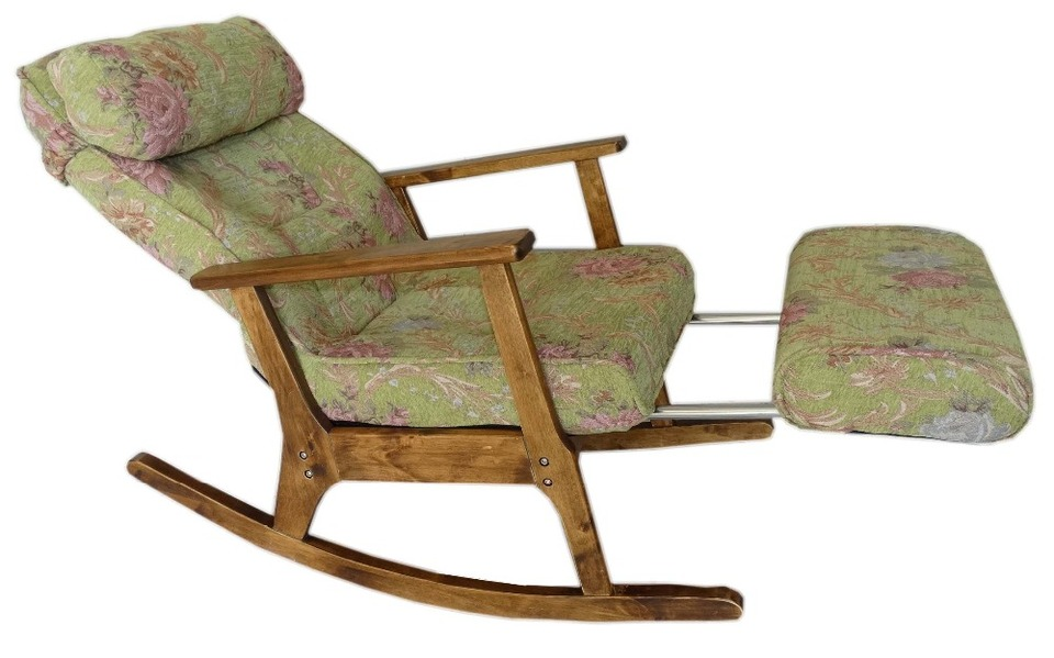 Garden Recliner For Elderly People Japanese Style ArmChair with Footstool Armrest Modern Indoor Wooden Rocking Chair 960x960