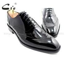 Cie/мужские туфли на заказ с квадратным носком; мужские туфли-оксфорды ручной работы из натуральной телячьей кожи; Цвет Черный; лакированная кожа; ox184