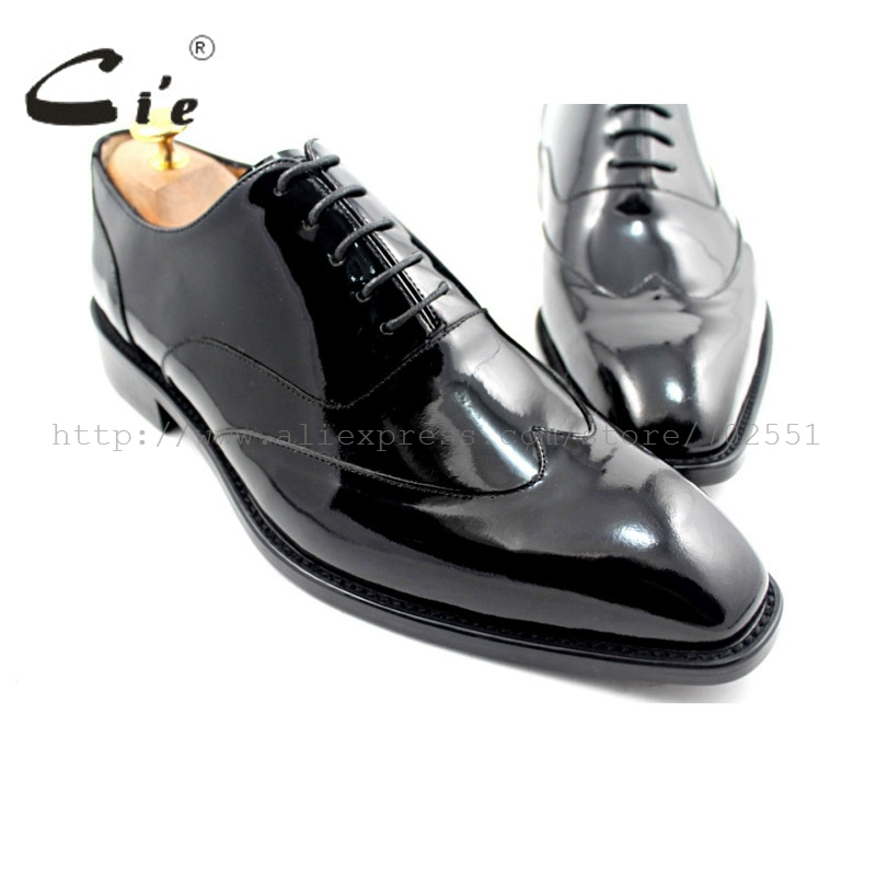 Cie square toe wingtips 맞춤형 남성 신발 맞춤형 수제 정품 송아지 가죽 밑창 남성 옥스포드 신발 블랙 특허 leatherox184-에서포멀 슈즈부터 신발 의  그룹 1