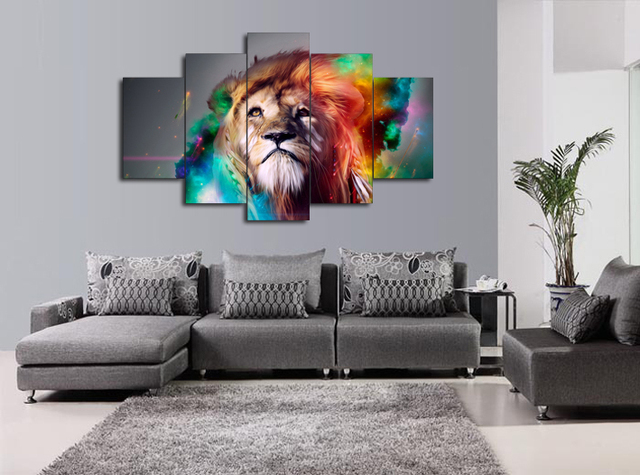 5 panels colourful lion painting for living room wall art picture gift home decoration fiv0071 - Colourful Living Room