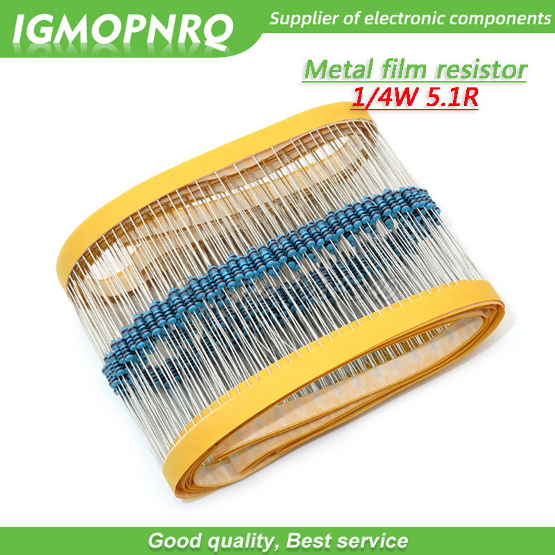 100pcs Metal film <font><b>resistor</b></font> Five color ring Weaving 1/4W 0.25W 1% 5.1R <font><b>5.1</b></font> <font><b>ohm</b></font> 5.1ohm image
