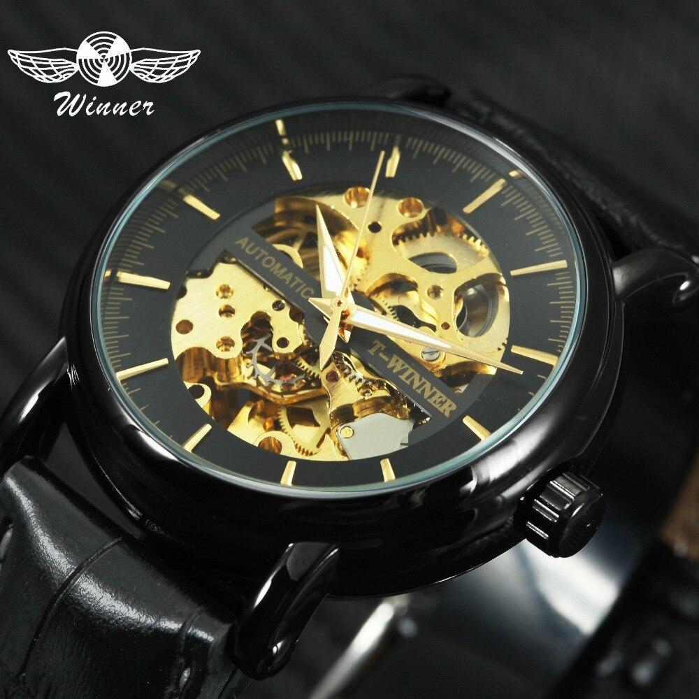 a8865e6a66d VENCEDOR 2019 Moda Homens Relógio Mecânico Automático Pulseira de Couro  Relógio de Ouro Esqueleto Dial Preto Relógios De Pulso Da Marca Top de Luxo  em ...