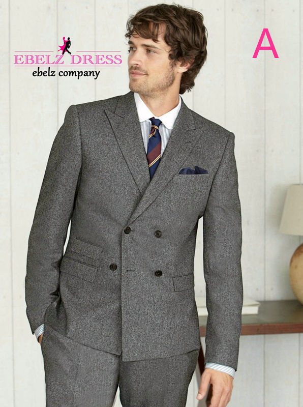 Classic Retro Gentleman British style Wool Grey suits Double ...