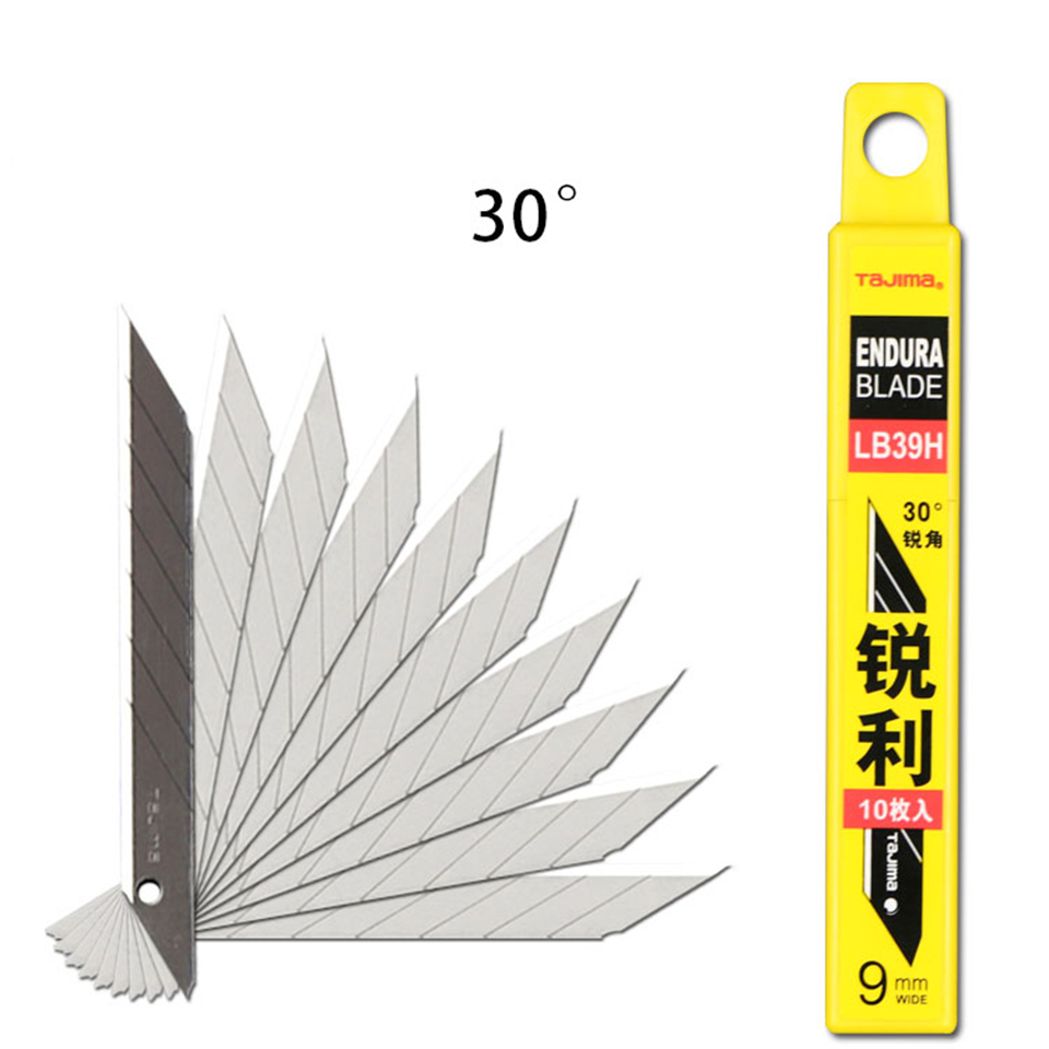 Japanese Tajima Knife Carbon Steel Snap Off Utility Sharp Knife 30 Degree Replacement Blade 9mm 10 Blades/Box LB39H-in Car Stickers from Automobiles & Motorcycles
