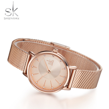 цена SK Rose Gold Women Watches Luxury Crystal Lady Watch Design Ladies Mesh Band Gift Clock Top Brand Fashion Quartz Wristwatch онлайн в 2017 году
