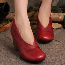 2016 Retro Style Handmade Shoes Women Chunky Heels Pumps Round Toe High Heels Genuine Leather