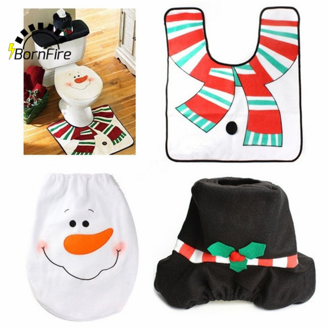 3pc Set Christmas Interior Decoration Xmas Snowman Toilet Seat Cover And Rug Bathroom New
