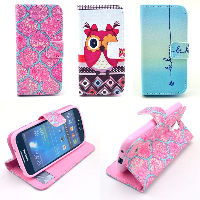 Smuk Fashion Pink Cute Flip Cover for Samsung Galaxy S4 mini Case JS-44