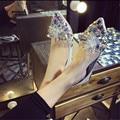 Koovan pisos de las mujeres 2017 mujeres del resorte zapatos de cristal de diamante de imitación del dedo del pie puntiagudo plana con los zapatos del barco zapatos de la boda para el partido