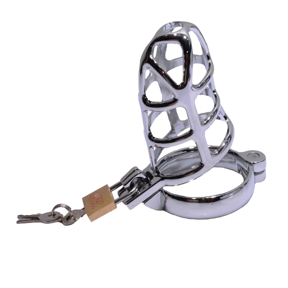 Male Chastity Device!! Stainless Steel Cock Cage Penis Cage for Adult Man Toy Sex Funny Toy stainless steel male chastity