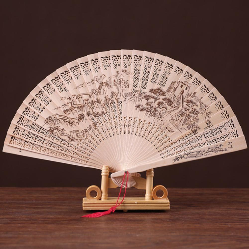 Vintage Bamboo Folding Hand Held Flower Fan Chinese Dance Party Pocket Gifts Wedding Hand Fragrant Party Carved Decorative Fans