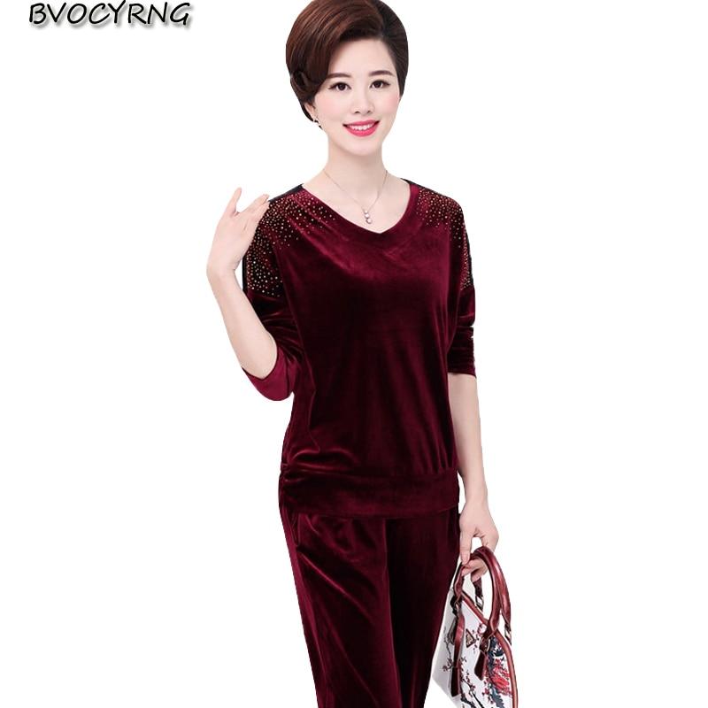 Suit Pezzo Sportswear 2 Autunno Femminile Set Di 2018 Red Donne Sporting Primavera Navy Mezza Casual Formato Il Più Velluto Ms purple Vestito wine Oro Età E aTvaRFq