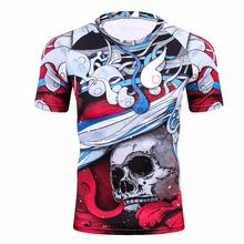 Compression Shirt for Men Rashguard MMA 3D Prints Tshirt Short Sleeve Breathable Quick Dry Workout Bodybuilding Fitness Tops