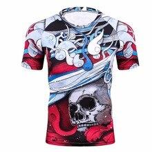 Compression Shirt for Men Rashguard MMA 3D Prints Tshirt Short Sleeve Breathable Quick Dry Workout Bodybuilding