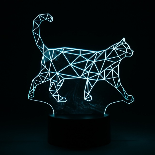 New 1 set  new hot 3D Walking Cat 7 Color Changable LED Nightlight Pmma Illusion Lamp Touch Button Home Decoration Gifts Craft