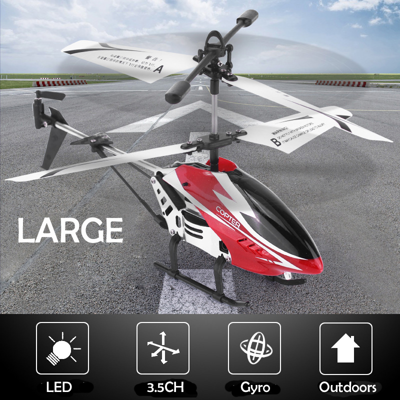 New 3.5CH Single Blade Large Remote Control Metal Alloy RC Helicopter With Gyro RTF For Kids Outdoor Flying Toys Gift