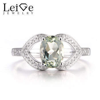 LeiGe Jewelry Natural Green Amethyst Rings Engagement Rings Oval Cut Green Gemstone Rings 925 Sterling Silver Customized Rings