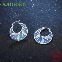 Round shape Blue charming Natural leaves Clip on Earrings with Stones Cubic Zirconia for women Earrings jewelry gift
