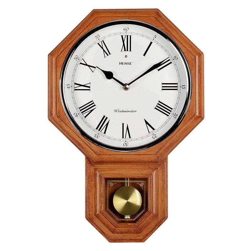 Octagon Luxo Retro Europeia Música Relógio Decoração Relógios de Quartzo Mudo Relógio de Pêndulo Para Sala de estar Luz Controle Parar a Cronometragem