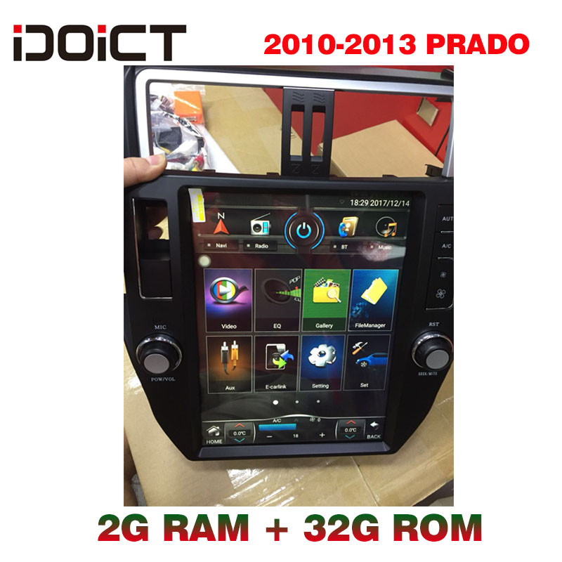 IDOICT TESLA Android 6.0 lecteur DVD de voiture GPS Navigation multimédia pour Toyota Land Cruiser Prado 150 Radio 2010-2013