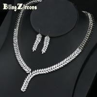 BeaQueen Nigerian Elegant Cubic Zirconia Marquise Cut CZ Jewelery Costume Necklace Earrings Women Wedding Jewelry Set JS064