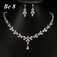 Be8 Brand New Fashion Sparkling Cubic Zirconium Jewelry Sets For Women Bridal White Gold Color Earring Necklace les nere S 015