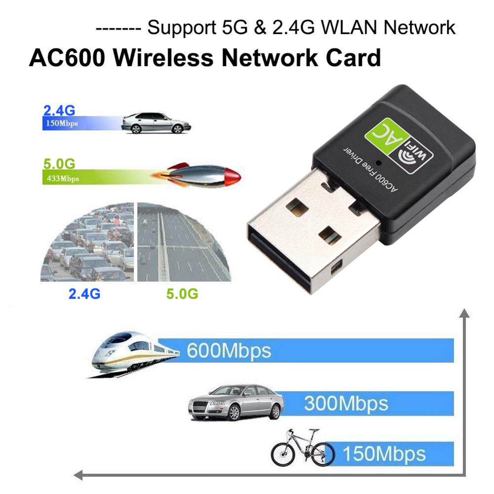 600M AC Dual-Band Wireless Wifi Adapter 2.4G 5G Built-in PCB Antenna USB Wireless Wifi Receiver Free Drive