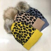 Зимние и осенние вязаные женские шапки с помпонами ll190516