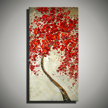 Abstractas modern acrylic red knife painting Canvas picture for living room flower home decorative hand painted oil painting