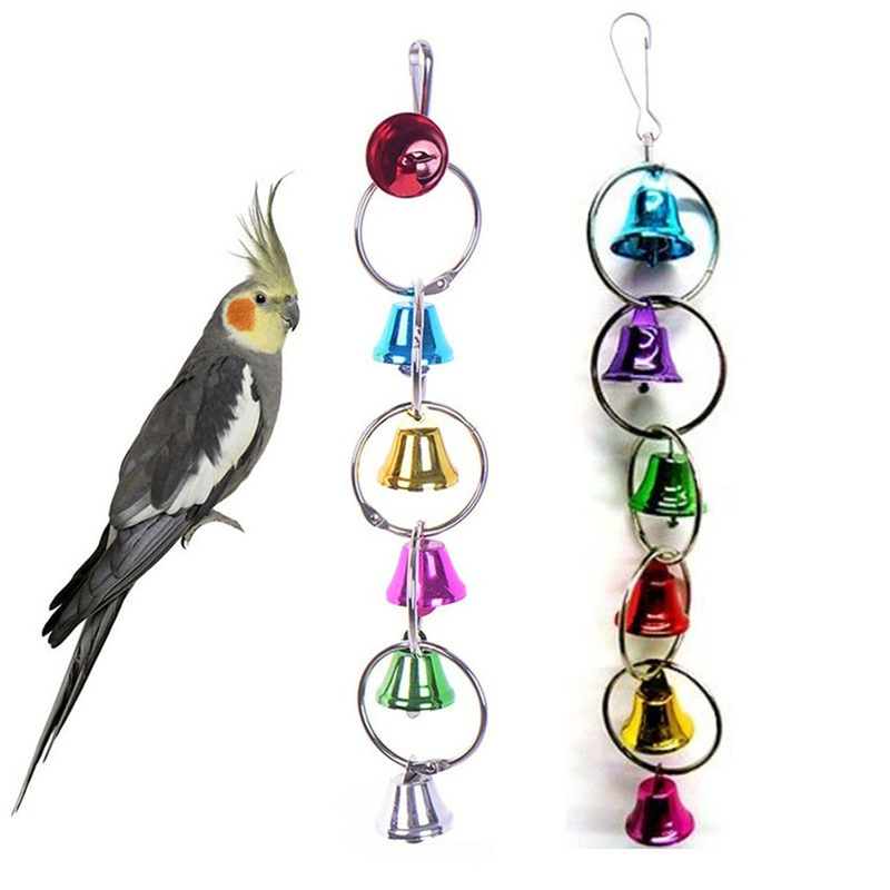 Hoomall Creative Lovely Hot Sell Pet Toy Play Bell Chew Toy Parrot Bird Colorful Bell Chain Bird Accessories  Toys for Birds