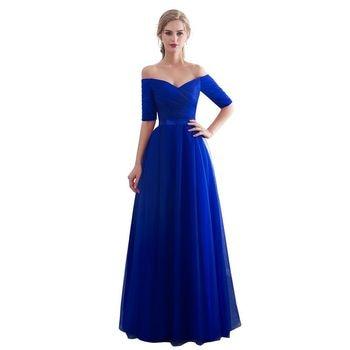 Azul real vestidos de noche largo de 2019 barco cuello Vestido de fiesta barato media manga Vestido da festa de moda formal Vestido de fiesta