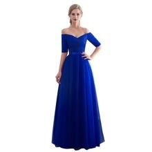 Azul real vestidos de noite 2019 barco longo pescoço vestido de baile barato meia manga vestido de festa formal elegante
