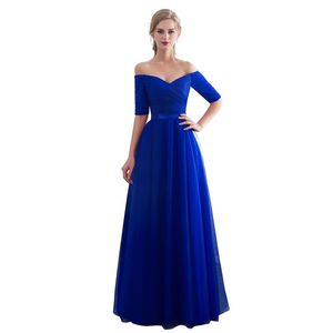 Image 1 - Royal blue Evening Dresses 2019  Long boat neck prom gown Cheap  Half Sleeve Vestido da festa fashionable formal party dress