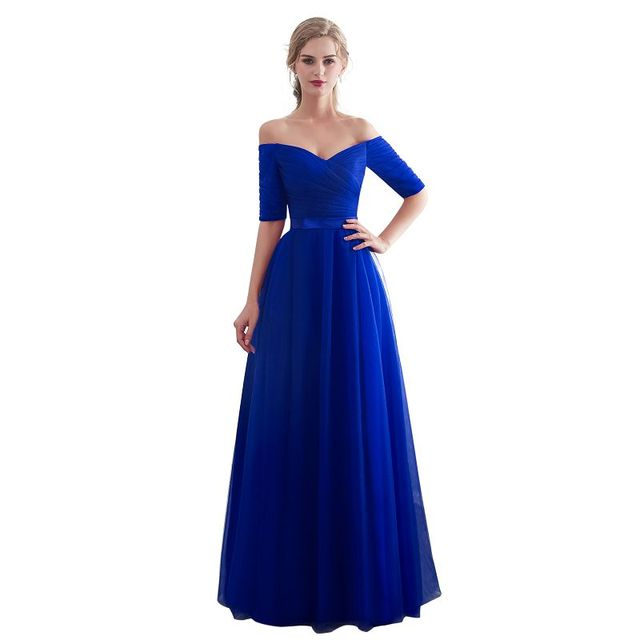 Royal blue Evening Dresses 2019  Long boat neck prom gown Cheap  Half Sleeve Vestido da festa fashionable formal party dress