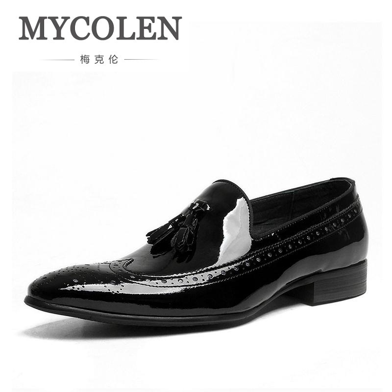 MYCOLEN Spring Autumn New Mens Business Dress Shoes Fashion Slip On Tassel Leather Wedding Shoes Men Handmade Work Black Shoes mazefeng new fashion 2018 spring autumn men dress shoes business male leather shoes solid color men work shoes slip on round toe