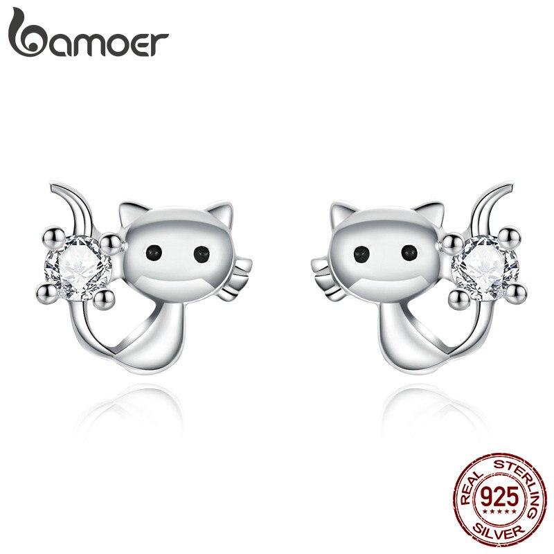 Bamoer lindo gato Kitty pendientes de plata para mujer chica Anit-alergia AAA CZ 925 joyería de plata de ley Bijoux BSE246