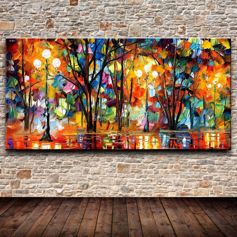 City New York Oil Painting On Canvas Wall Art For Living: Knife Large Abstract Oil Painting City Park On Canvas