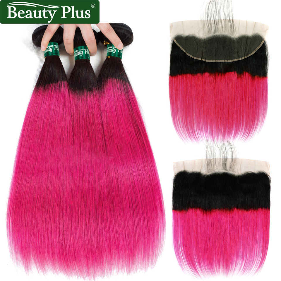 Bundles With Frontal Brazilian Ombre Human Hair Weave Pre Plucked Ear To Ear Closures Beauty Plus Non Remy Pink Straight Hair