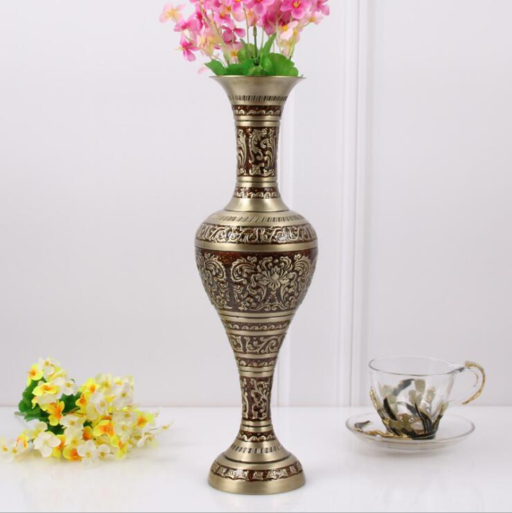 H37CM bronze red large size vase Vintage vase alloy metal flowers vase table vase for home