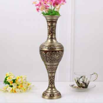 H37CM bronze red large size vase Vintage vase alloy metal flowers vase table vase for home decoration HP015 - DISCOUNT ITEM  10% OFF All Category