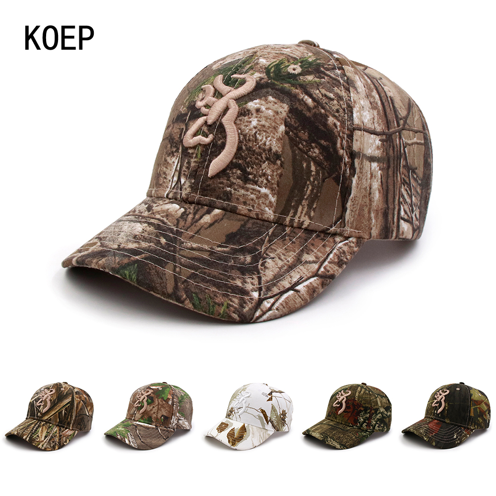 KOEP Browning Camo Baseball Cap Fishing Caps Men Outdoor Hunting Camouflage Jungle Hat Airsoft Tactical Hiking Casquette Hats 2017 new arrival men s hats men camo baseball caps mesh for spring summer outdoor camouflage jungle net ball base army cap hot