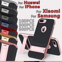 Смартфон подставку для samsung S10 Lite примечание 9 Гибридный Для iphone 8 Plus Держатель Силиконовый TPU + PC защитный мешок мобильного телефона