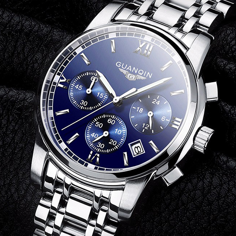 ФОТО 2016 New Luxury Watch Brand GUANQIN Quartz Watch Men Steel Fashion Clock Male Waterproof Watches With Complete Calendar