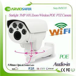 H.265 Обнаружение человека 5MP Starlight 10X Zoom 5-50 мм Wifi IP PTZ сетевая камера POE беспроводная камера Sony IMX335 Senor Onvif/RTSP