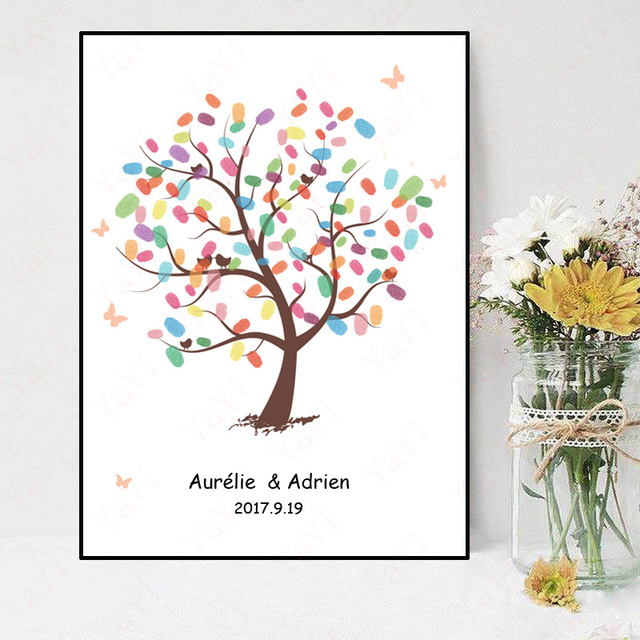 Fingerprint Tree Signature Canvas Painting Color Tree Wedding Gift Wedding  DIY Decoration Party Gift Baby Shower