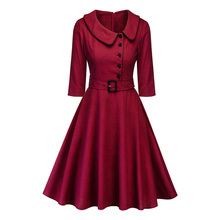 Autumn and winter temperament commuter doll collar A-line skirt cotton female dress free shipping