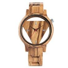 Creative Bamboo Wood Wrist Watch Men Novel Design Hollow Triangle Dial Quartz Men's Watches Best Gift Christmas Watches все цены